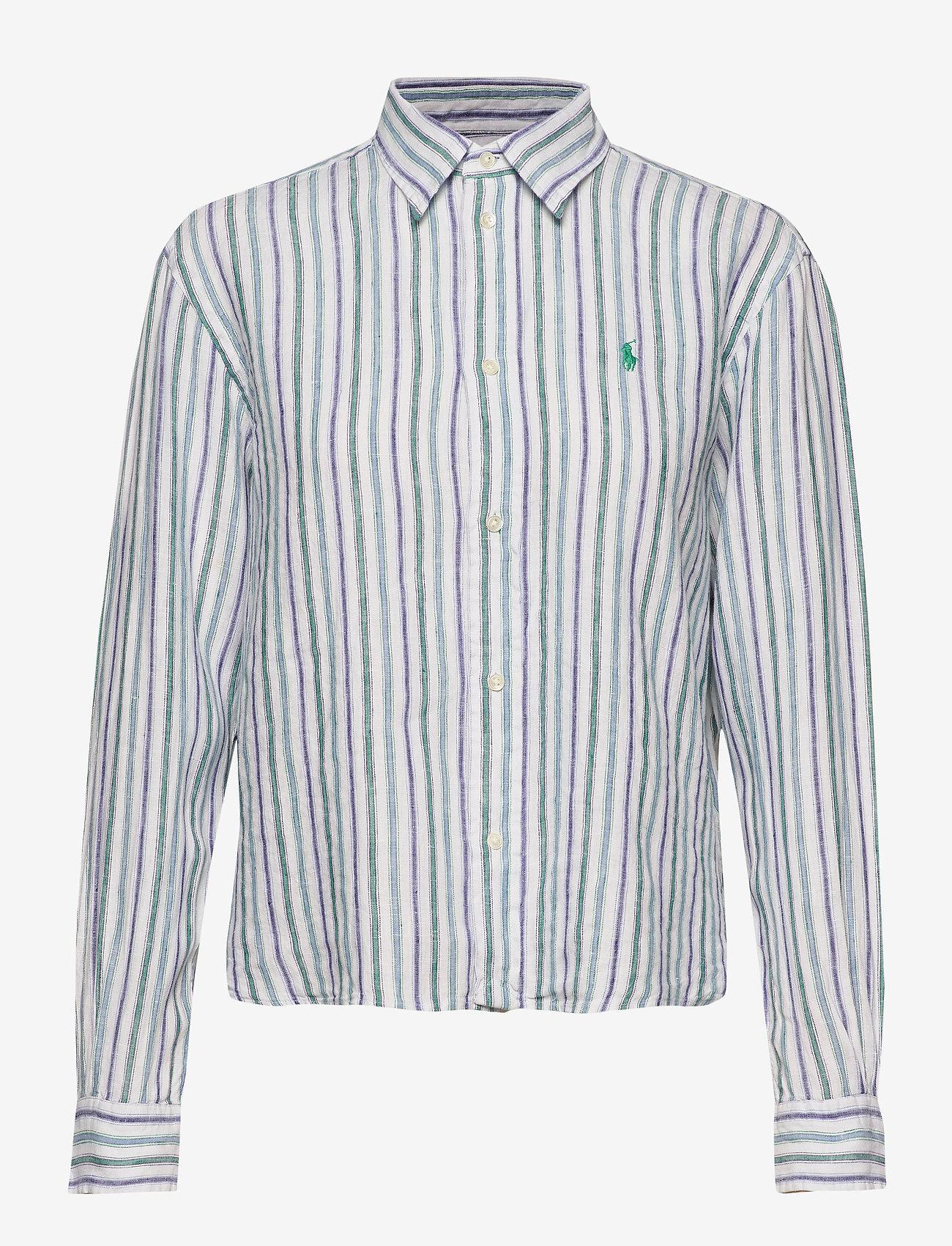 Polo Ralph Lauren - Striped Linen Shirt - long-sleeved shirts - 508 blue green/wh - 0