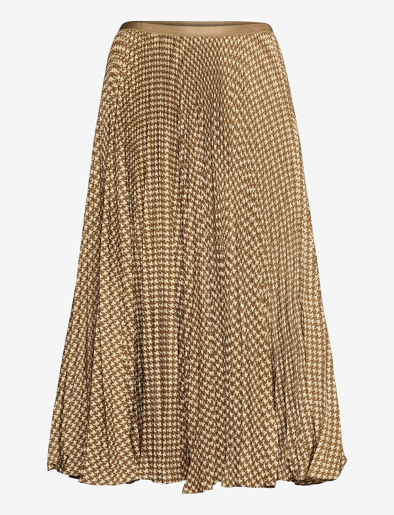 Polo Ralph Lauren - Houndstooth Pleated Skirt - midi skirts - brown/tan houndst - 1