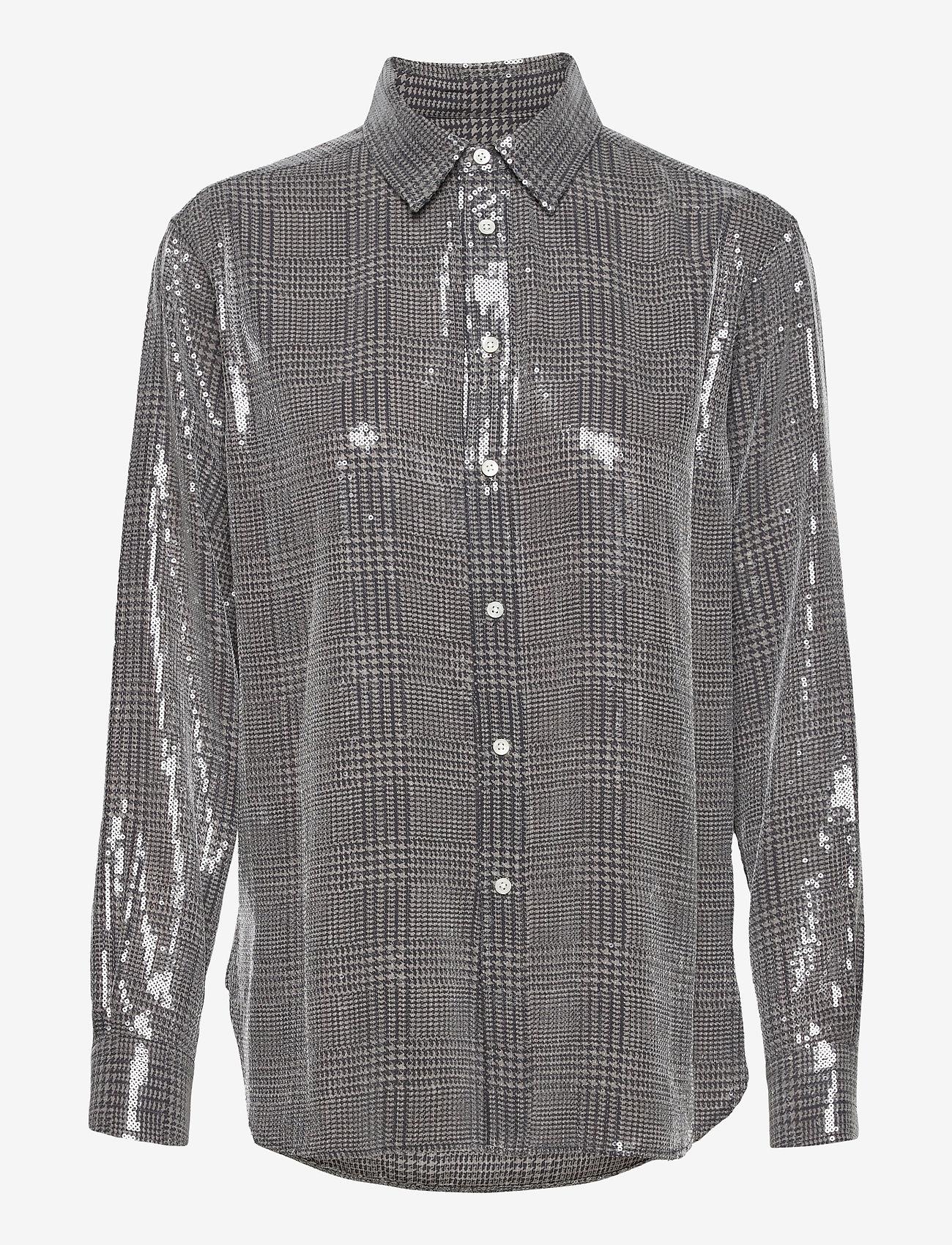 Polo Ralph Lauren - SQ PRNTD POLY GGT-LSL-SHT - long-sleeved shirts - grey/black glen p - 0