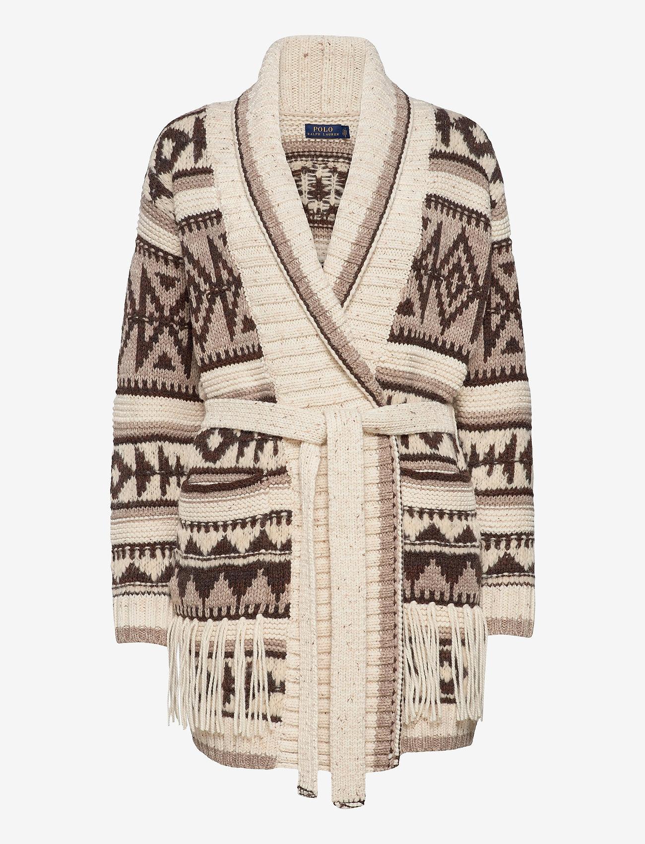 Polo Ralph Lauren - Fringe-Trim Shawl Cardigan - cardigans - oatmeal multi - 1