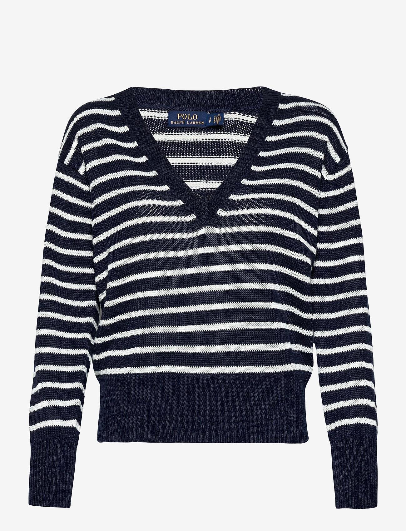 Polo Ralph Lauren - Striped Linen Sweater - jumpers - hunter navy/bone - 0