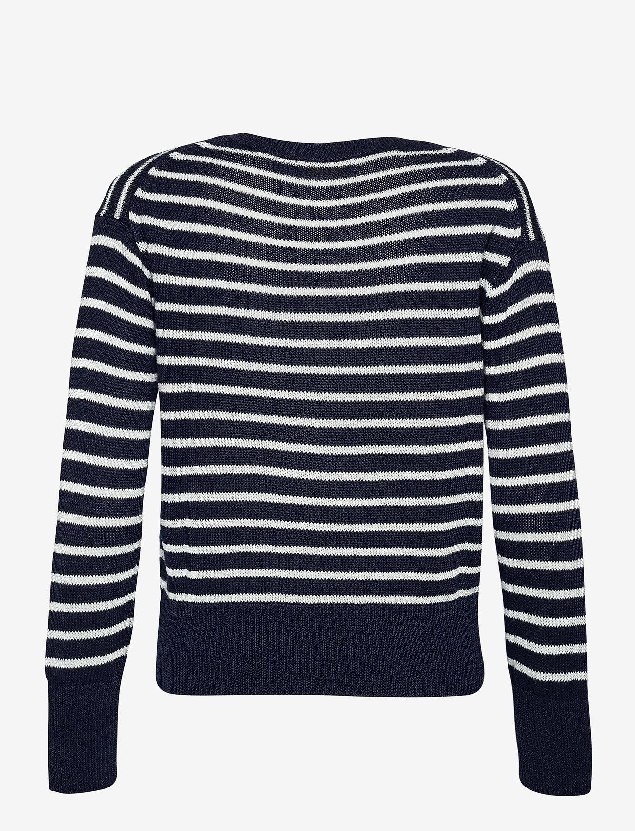 Polo Ralph Lauren - Striped Linen Sweater - jumpers - hunter navy/bone - 1