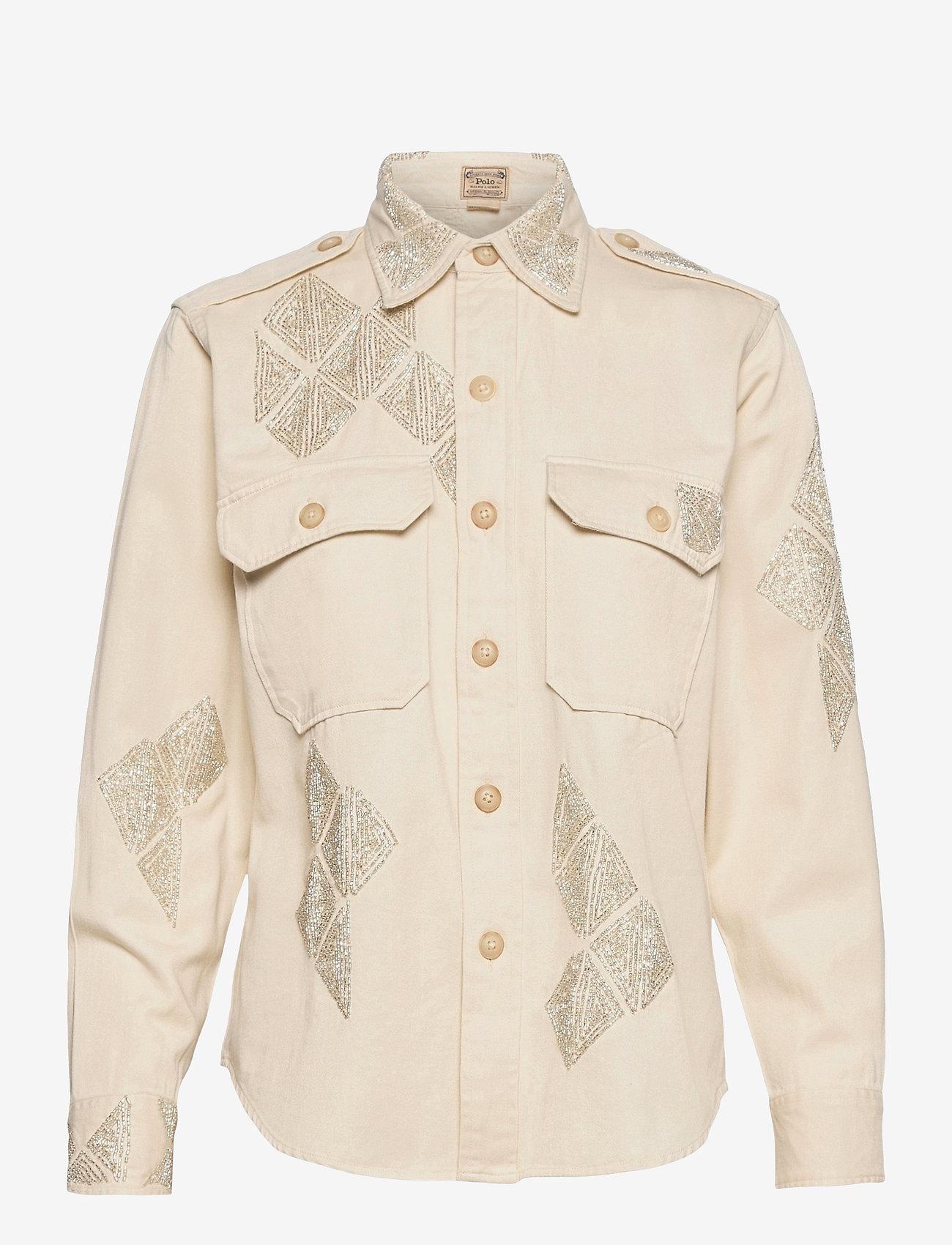 Polo Ralph Lauren - Beaded Cotton Twill Shirt - langærmede skjorter - english cream - 1