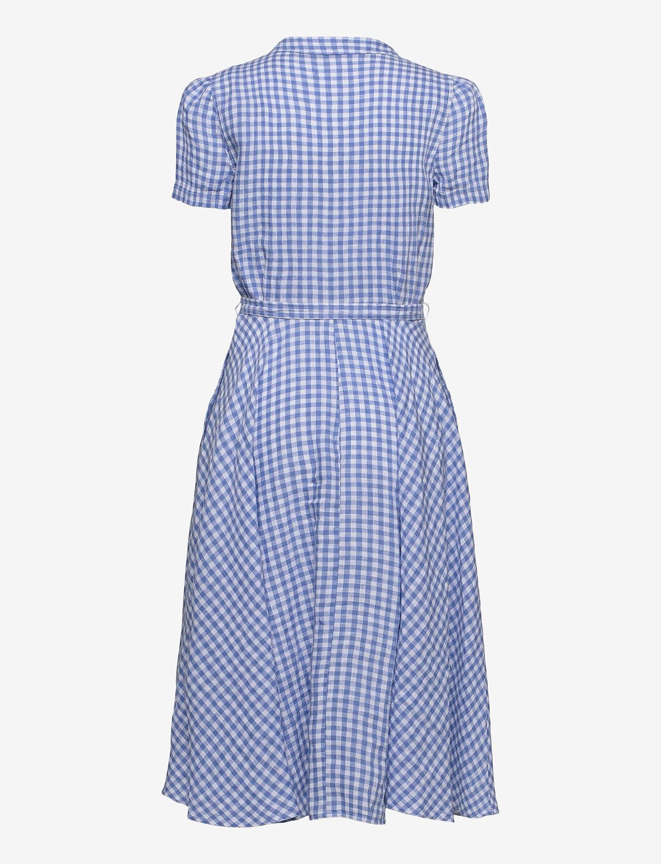 Polo Ralph Lauren - Gingham Linen Shirtdress - sommerkjoler - 918 medium blue/ - 1