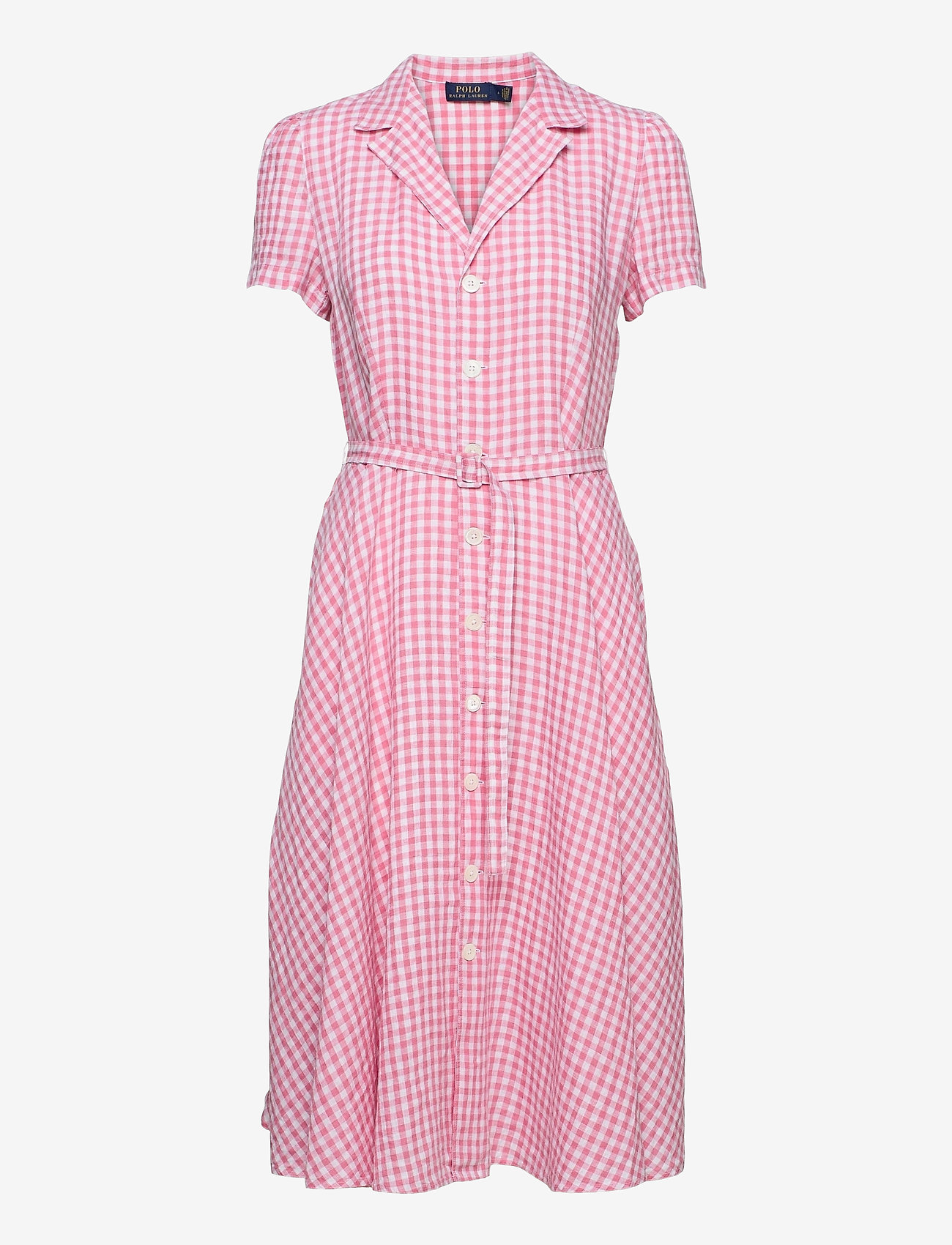 Polo Ralph Lauren - Gingham Linen Shirtdress - sommerkjoler - 918 ribbon pink/w - 0