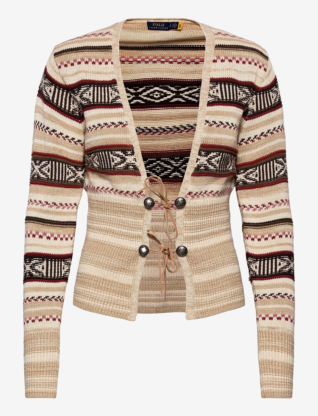 Polo Ralph Lauren - TE FRT CARDI-LONG SLEEVE-SWEATER - cardigans - cream/brown strip - 0
