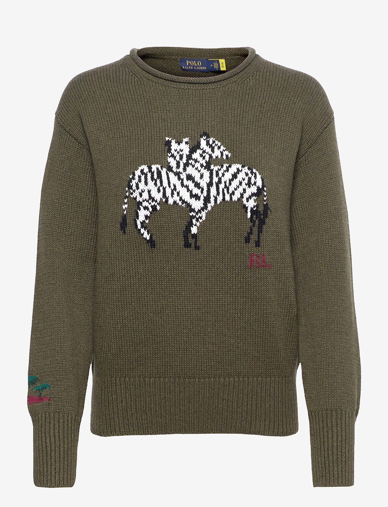 Polo Ralph Lauren - LS ZBR CN PO-CLASSIC-LONG SLEEVE-SWEATER - jumpers - olive multi - 0