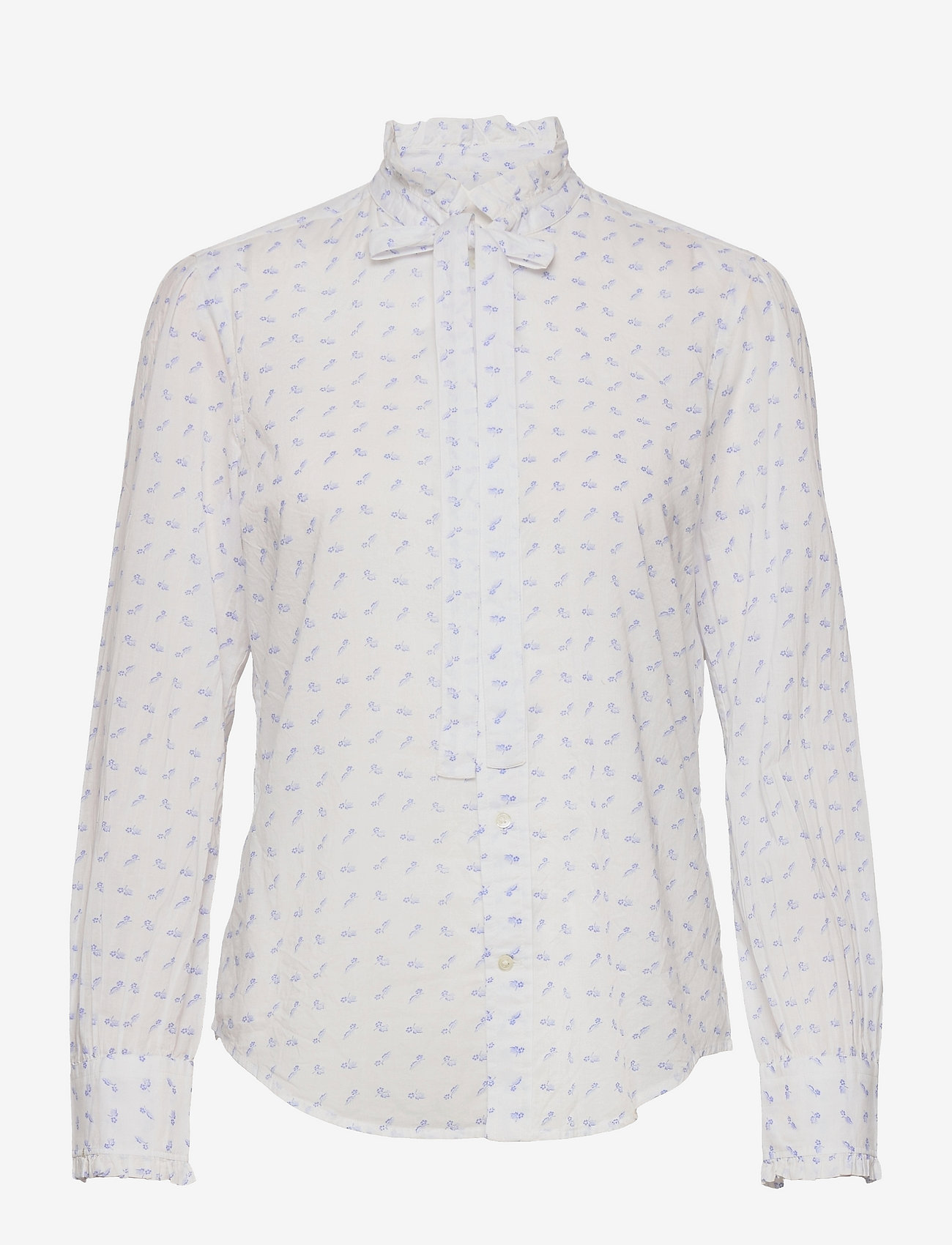 Polo Ralph Lauren - Daisy Cotton Tie-Neck Shirt - long sleeved blouses - 729 feathered blu - 0