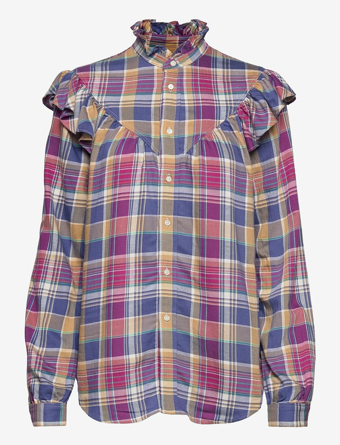 Polo Ralph Lauren - Ruffle-Trim Plaid Shirt - long-sleeved shirts - 825 blue/magenta - 0