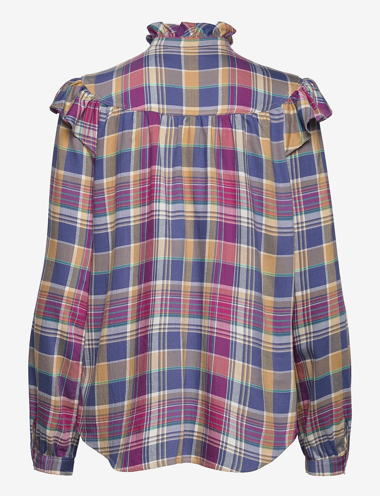 Polo Ralph Lauren - Ruffle-Trim Plaid Shirt - long-sleeved shirts - 825 blue/magenta - 1