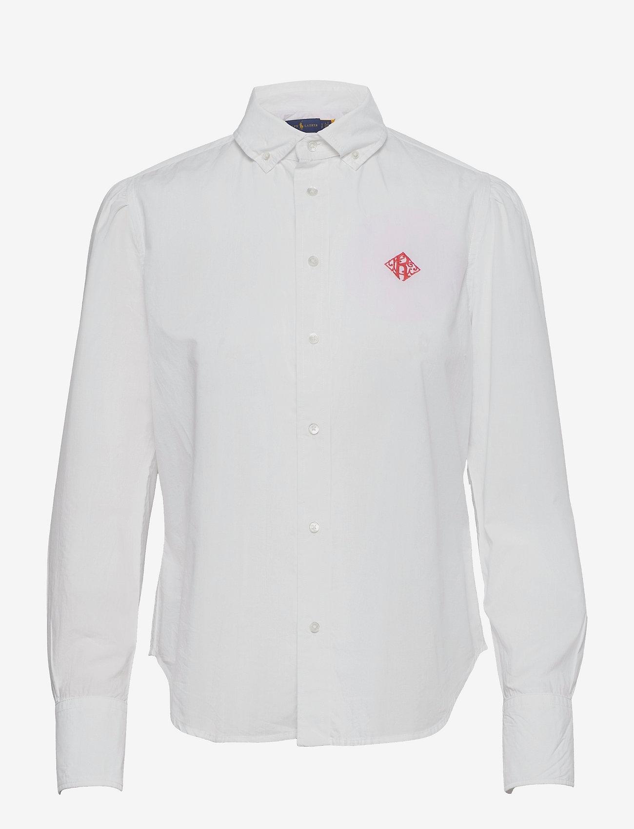 Polo Ralph Lauren - Embroidered-Monogram Cotton Poplin Shirt - long-sleeved shirts - white - 0
