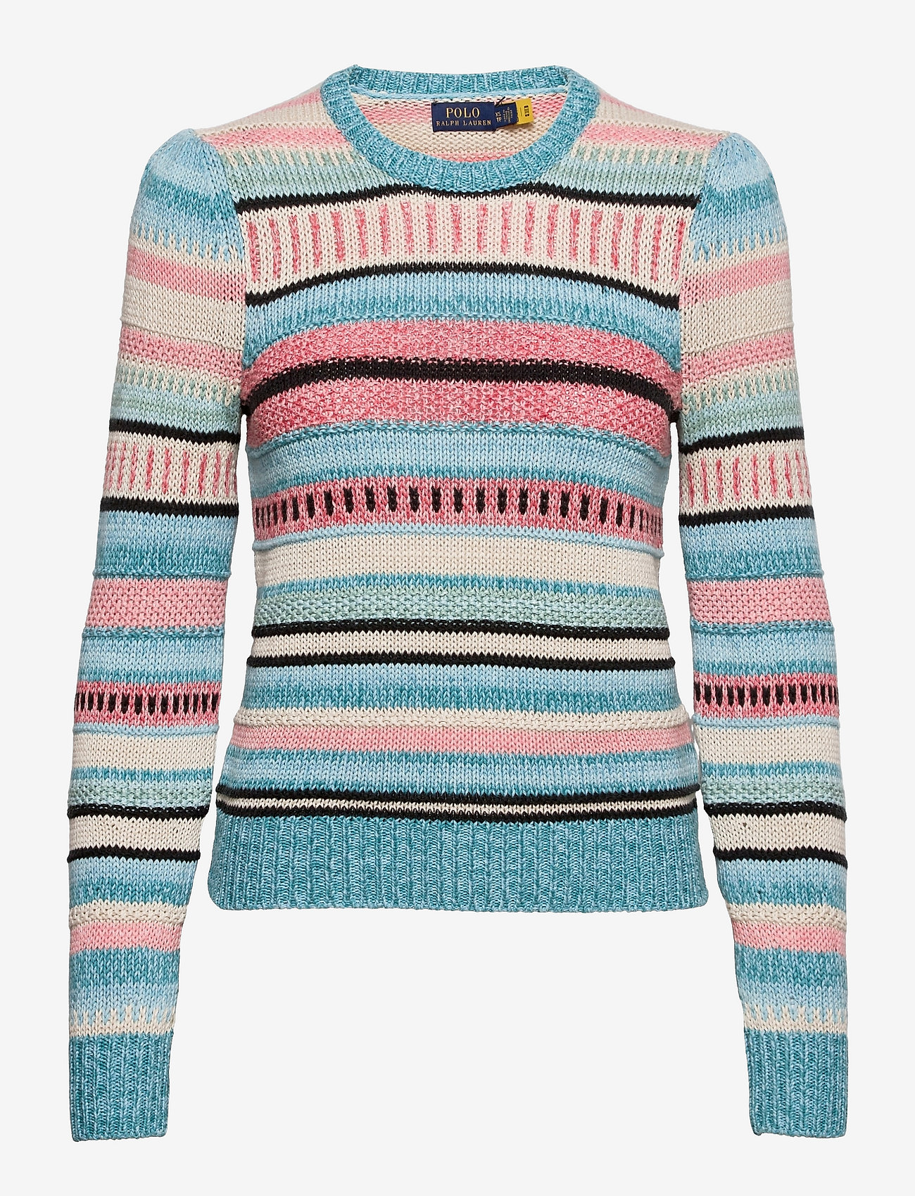 Polo Ralph Lauren - Striped Cotton-Linen Sweater - jumpers - teal multi - 0