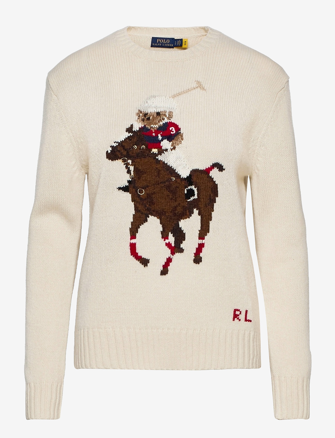 Polo Ralph Lauren - Polo Bear Embroidered Sweater - jumpers - cream multi - 0