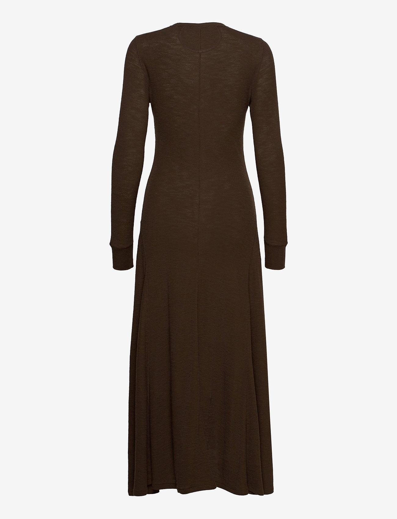 Polo Ralph Lauren - Cotton Henley Long-Sleeve Dress - bodycon dresses - dark beech - 1