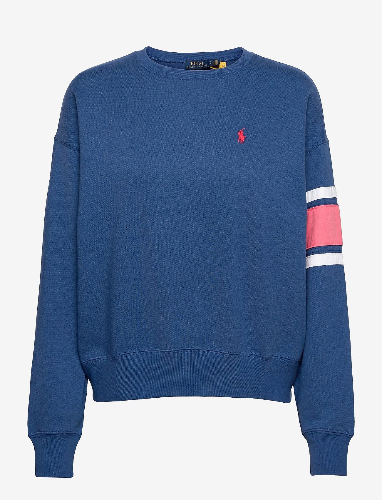 Polo Ralph Lauren - Striped-Trim Fleece Sweatshirt - sweatshirts - beach royal - 0
