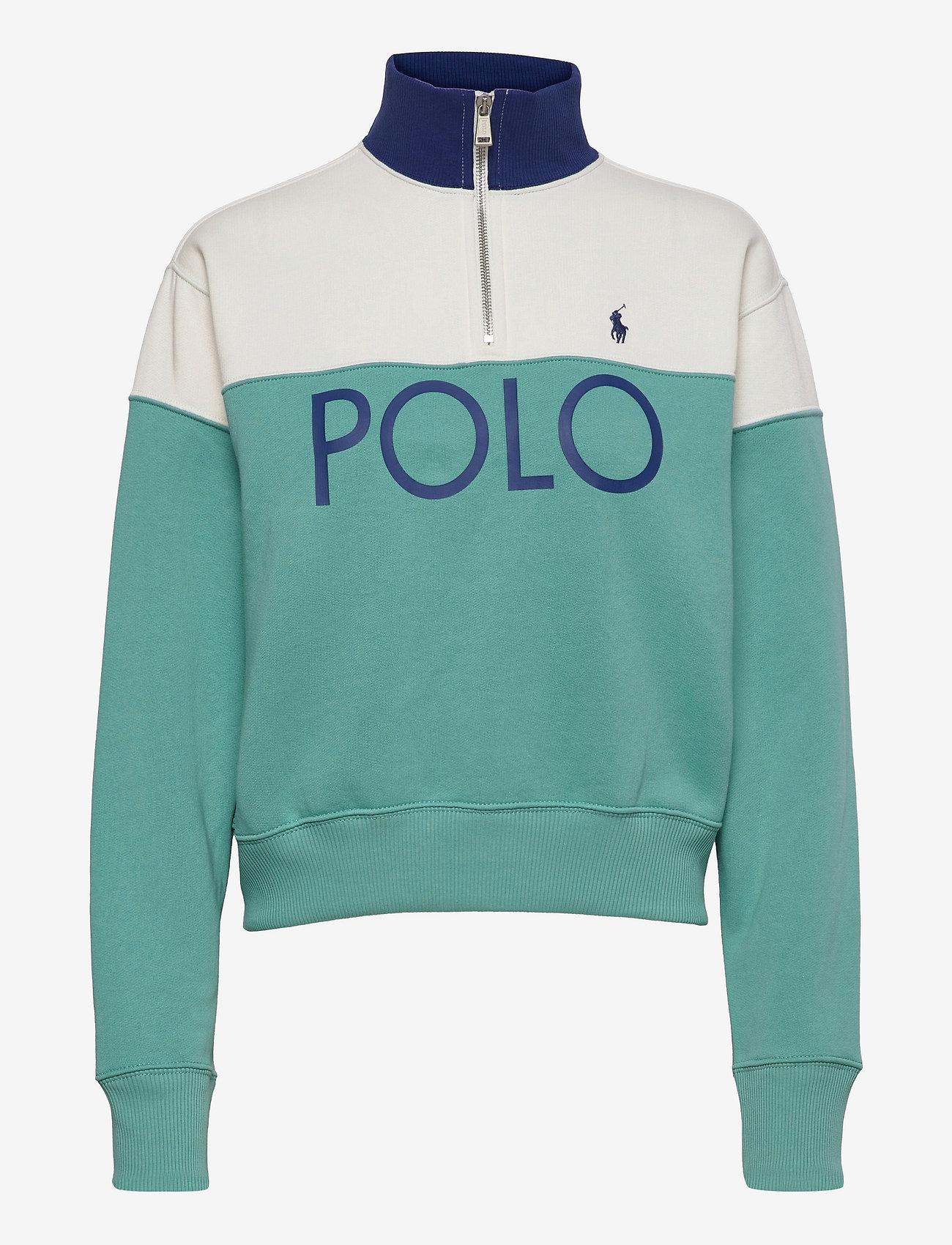 Polo Ralph Lauren - Color-Blocked Fleece Quarter-Zip - sweatshirts - deckwash white/ti - 0