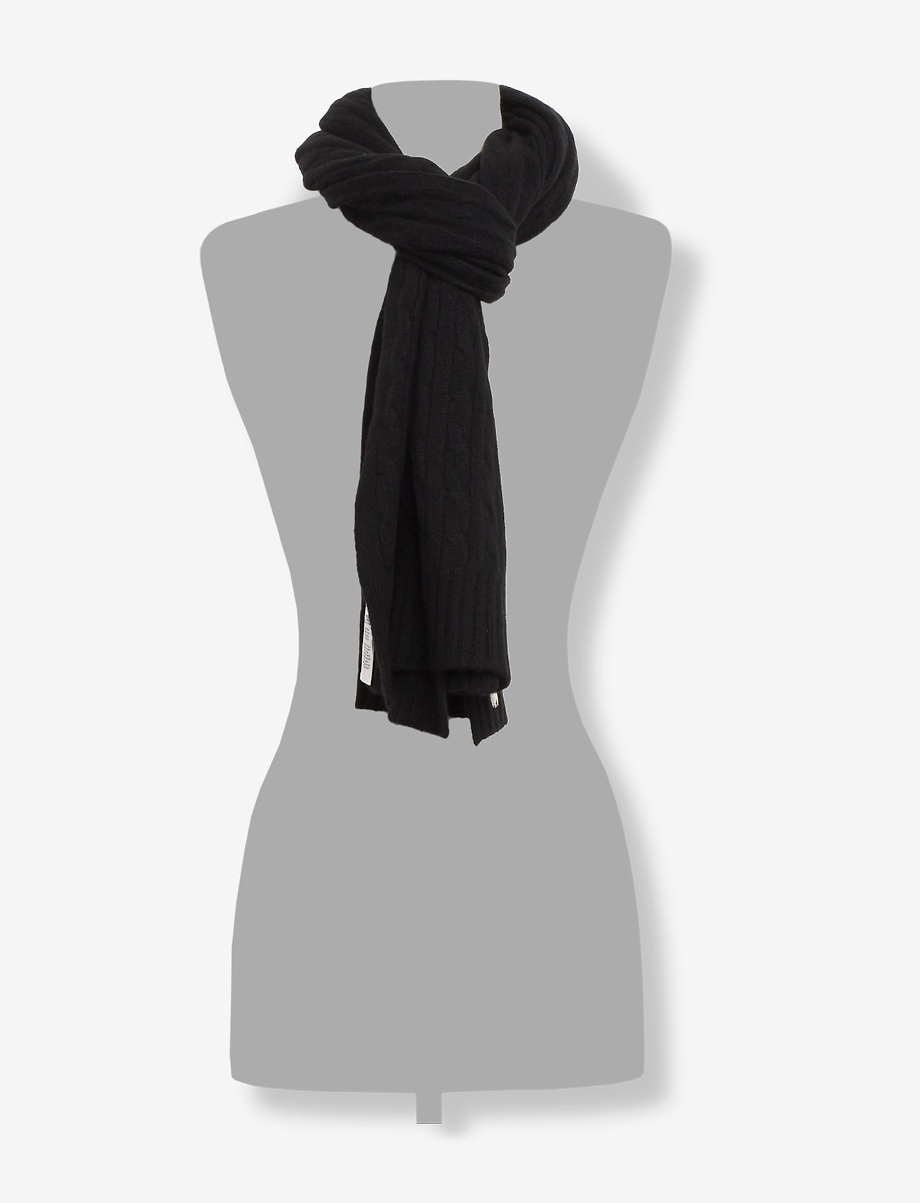 Polo Ralph Lauren - WOOL/CASHMERE-CABLE SCARF-OBS - huivit - polo black
