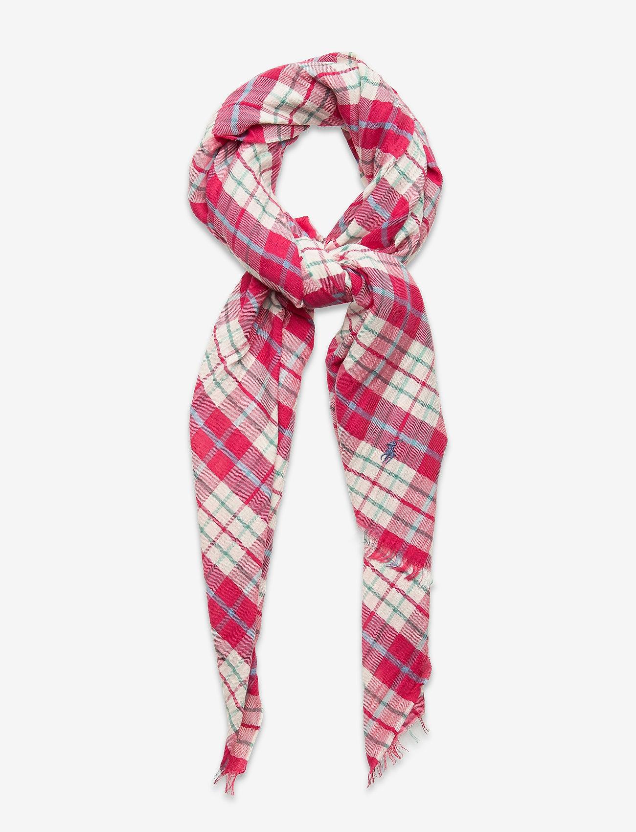 Polo Ralph Lauren - Plaid Cotton-Blend Scarf - tørklæder - pink plaid - 0
