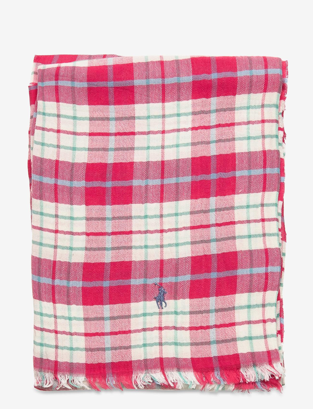 Polo Ralph Lauren - Plaid Cotton-Blend Scarf - tørklæder - pink plaid - 1