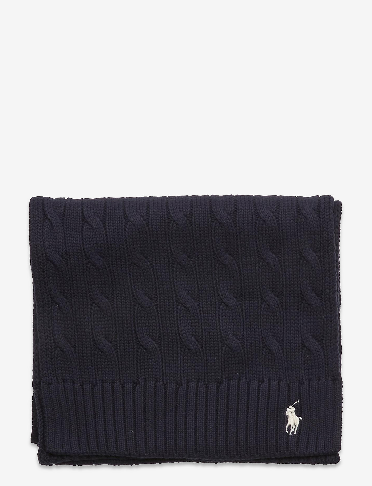 Polo Ralph Lauren - Cable-Knit Cotton Scarf - winter scarves - hunter navy - 1