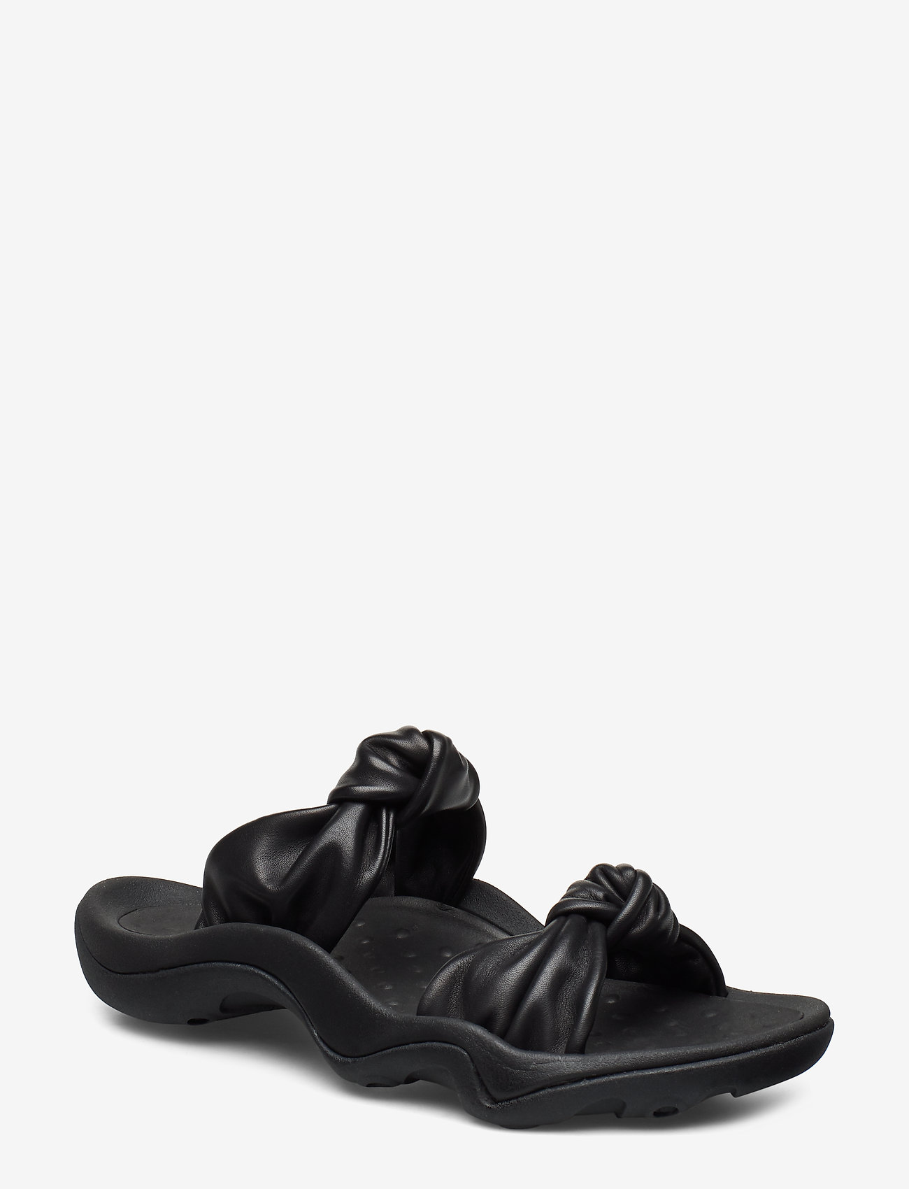 Knotted-strap Leather Sandal (Black