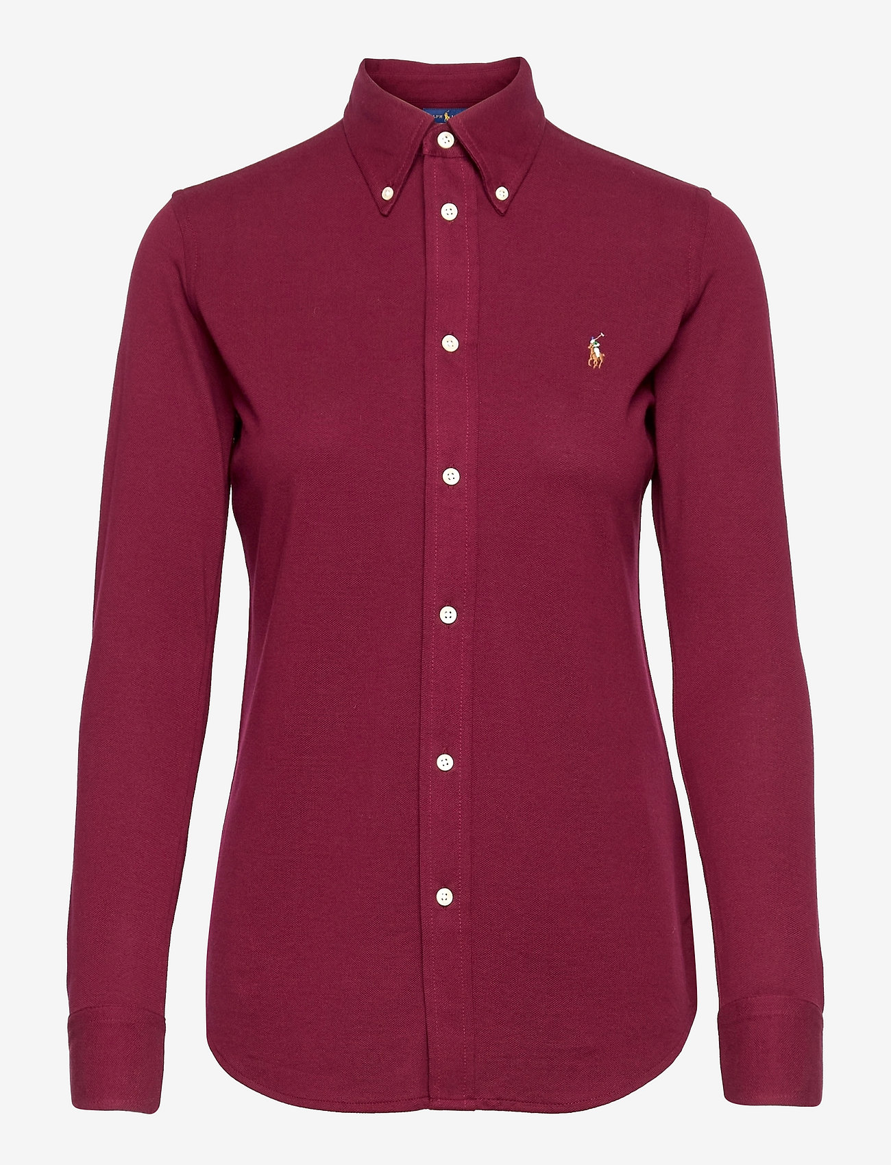 Polo Ralph Lauren - Knit Cotton Oxford Shirt - long-sleeved shirts - monarch red - 0