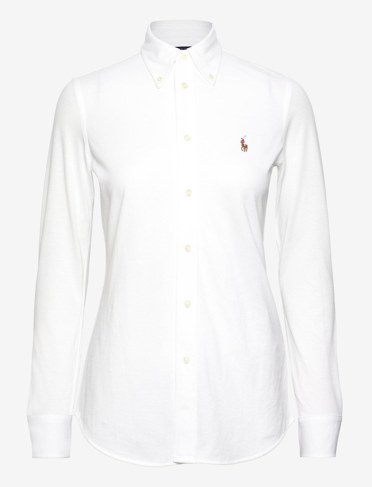 Polo Ralph Lauren - Knit Cotton Oxford Shirt - langærmede skjorter - white - 1