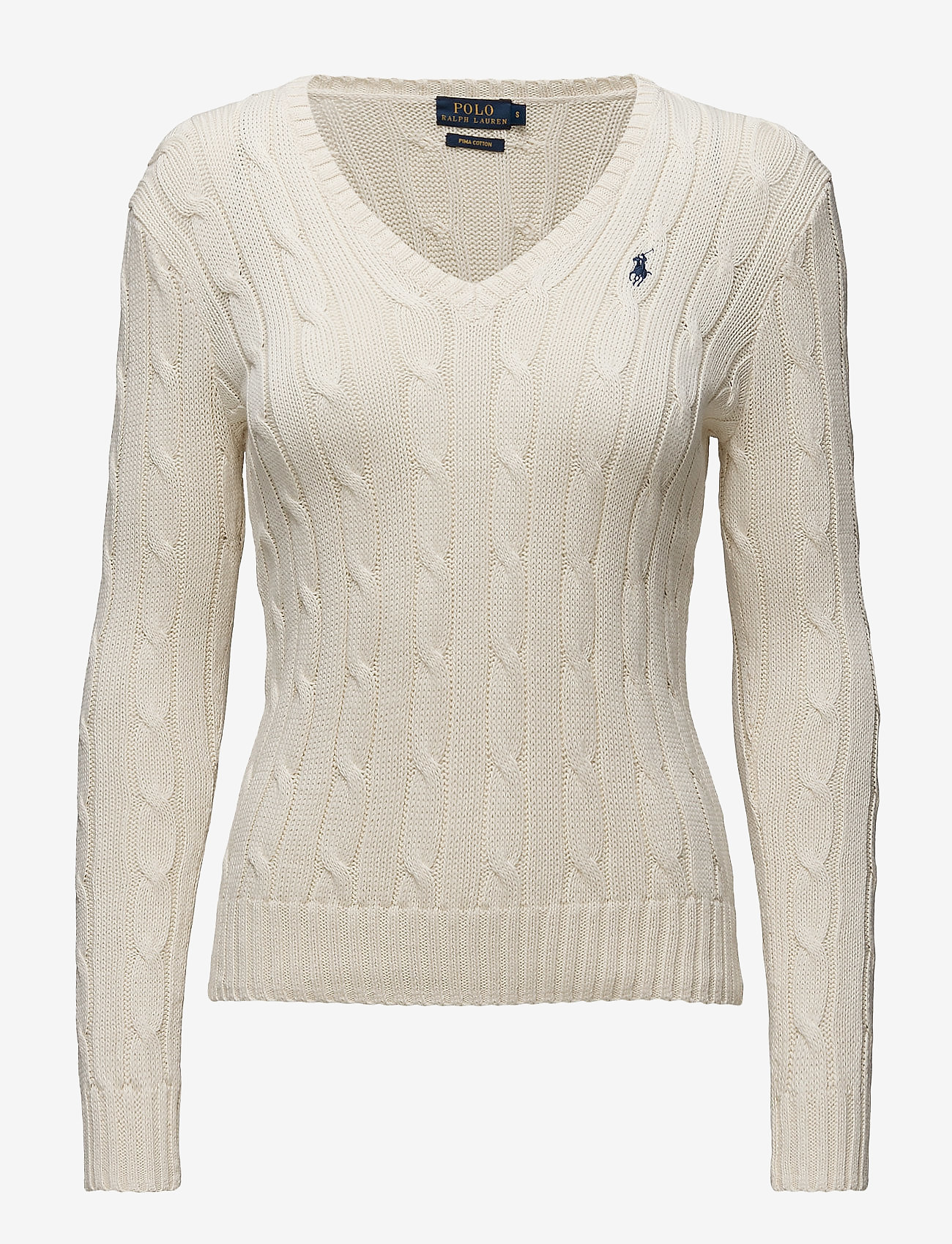 Polo Ralph Lauren - Cable-Knit V-Neck Sweater - trøjer - cream - 1