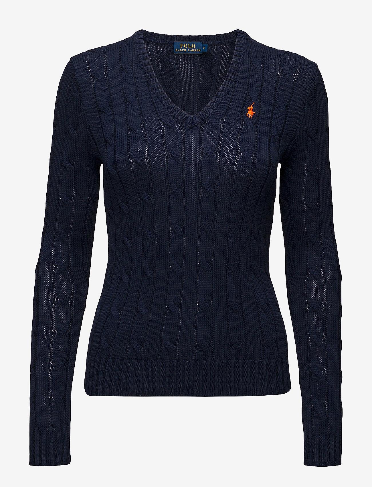 Polo Ralph Lauren - Cable-Knit V-Neck Sweater - trøjer - hunter navy - 1
