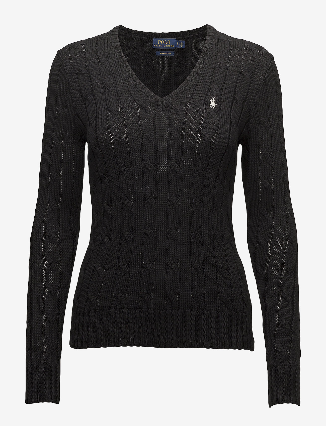 Polo Ralph Lauren - Cable-Knit V-Neck Sweater - trøjer - polo black/white - 1