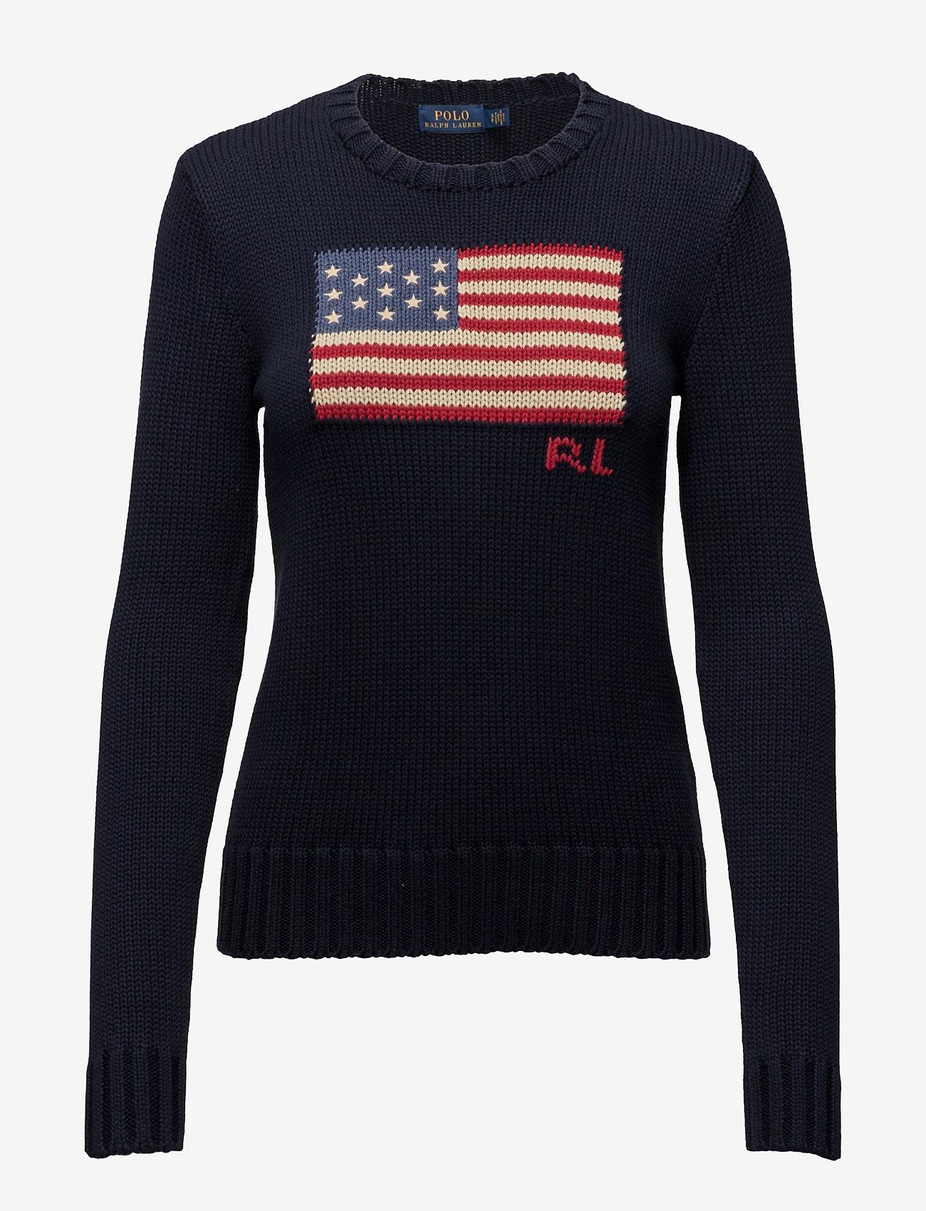 Polo Ralph Lauren - Flag Cotton Crewneck Sweater - jumpers - hunter navy mul - 1