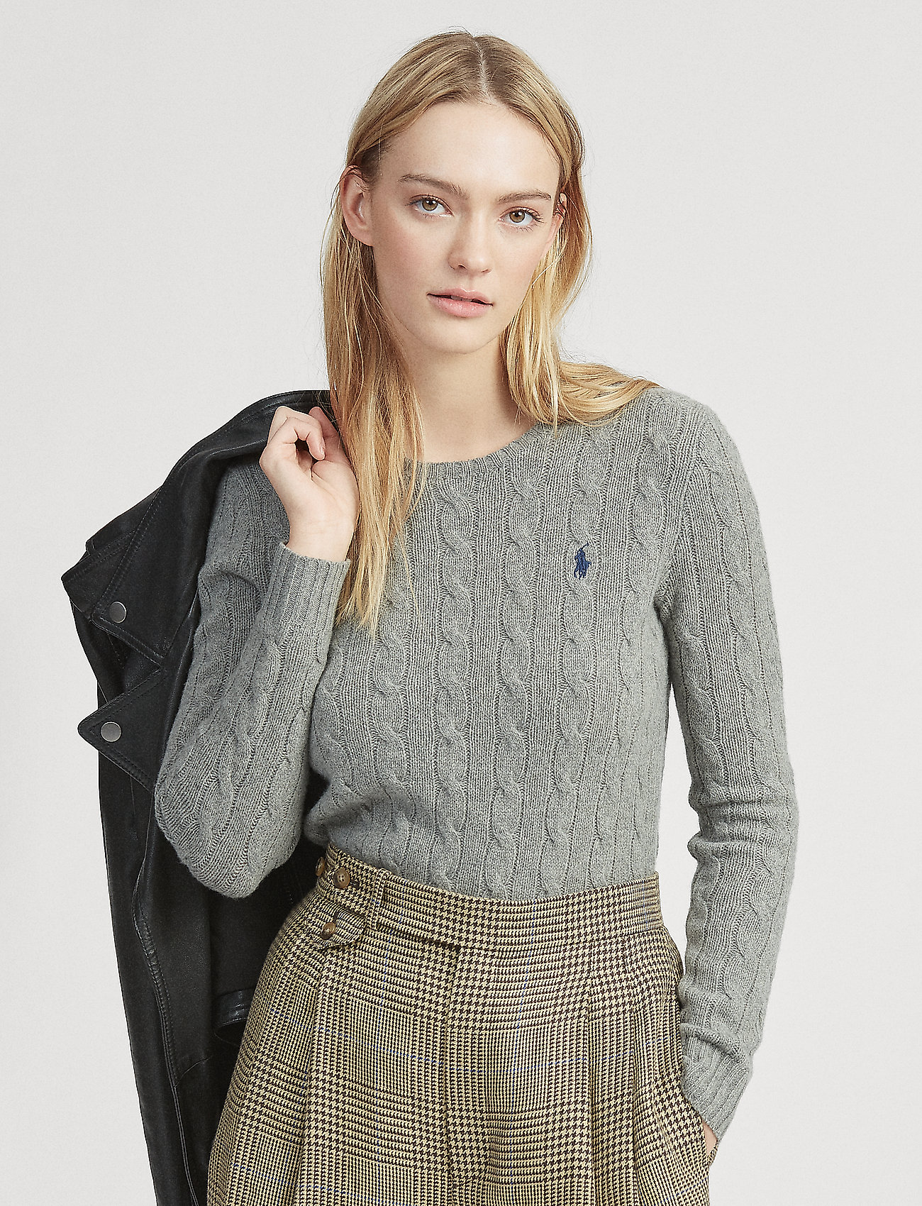 Polo Ralph Lauren - Cable Wool-Cashmere Sweater - truien - fawn grey heather - 0