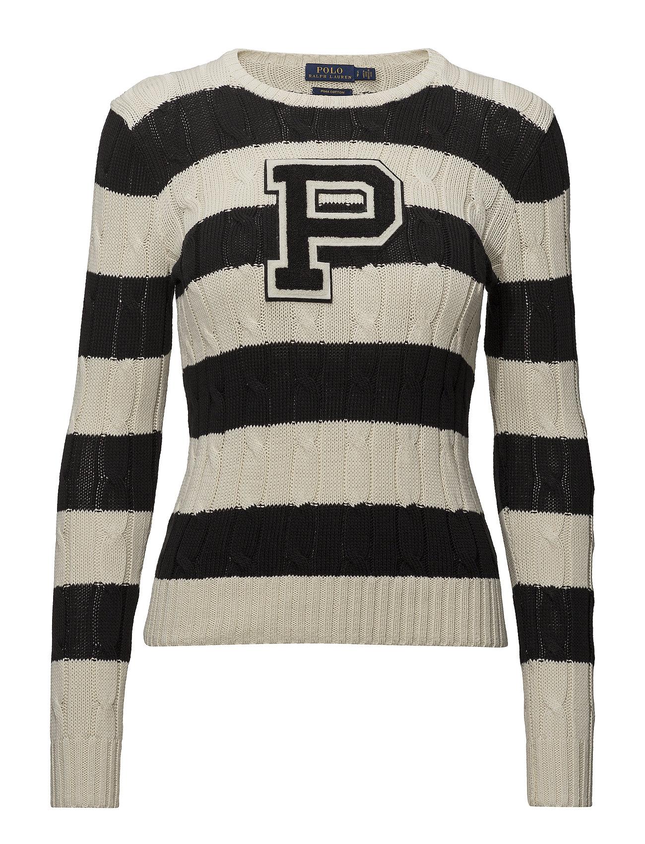 52e3f992f Patch Striped Cotton Sweater (Cream polo Black) (£105) - Polo Ralph ...