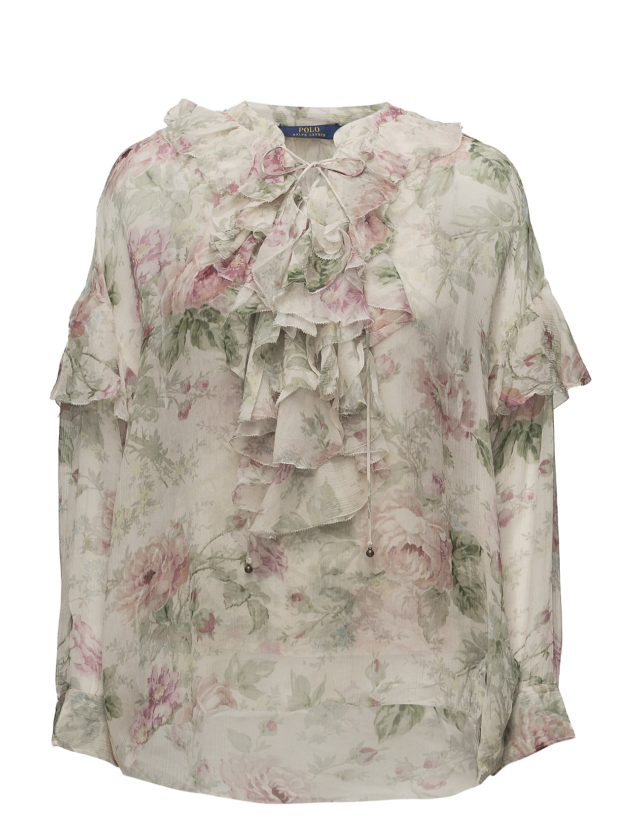 40238aa46142a Floral Lace-up Silk Blouse (Sonoma Floral) (191.95 €) - Polo Ralph ...