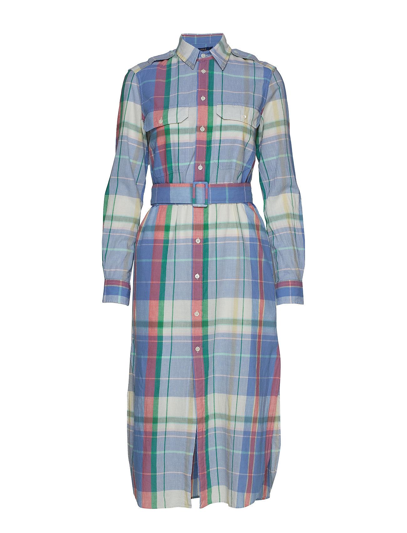Polo Ralph Lauren Cotton Madras Shirtdress - 101 SOFT BLUE/PIN