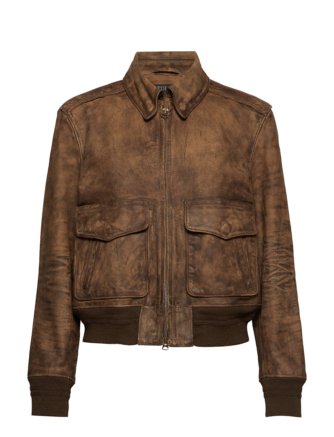 best online latest trends complimentary shipping Painted Leather Bomber Jacket