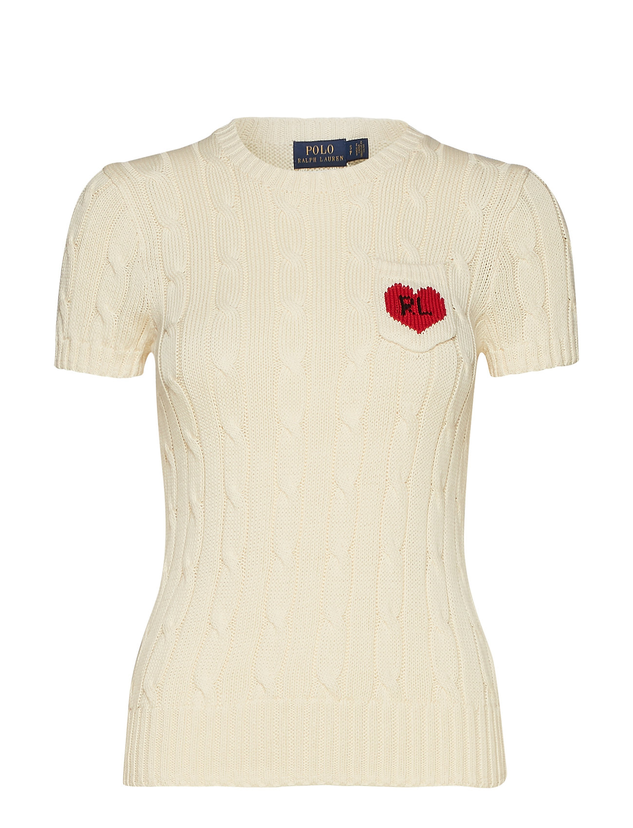 Polo Ralph Lauren RL Heart Short-Sleeve Sweater - CREAM W/ RED