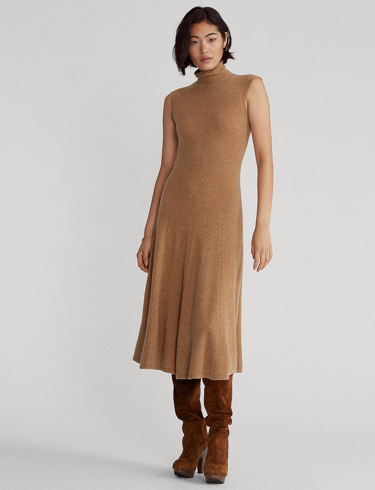 Polo Ralph Lauren - Cashmere Sleeveless Dress - midi dresses - collection camel - 0