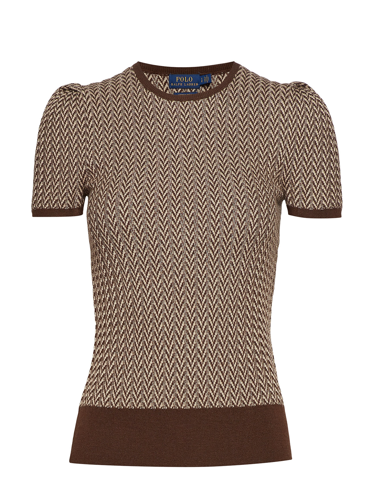 Polo Ralph Lauren RIBBED HERRINGBONE-SSL-SWT - BROWN/CREAM