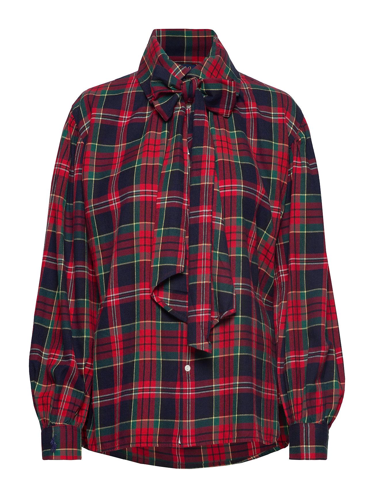 Polo Ralph Lauren Plaid Necktie Cotton Shirt - 400 RED/NAVY