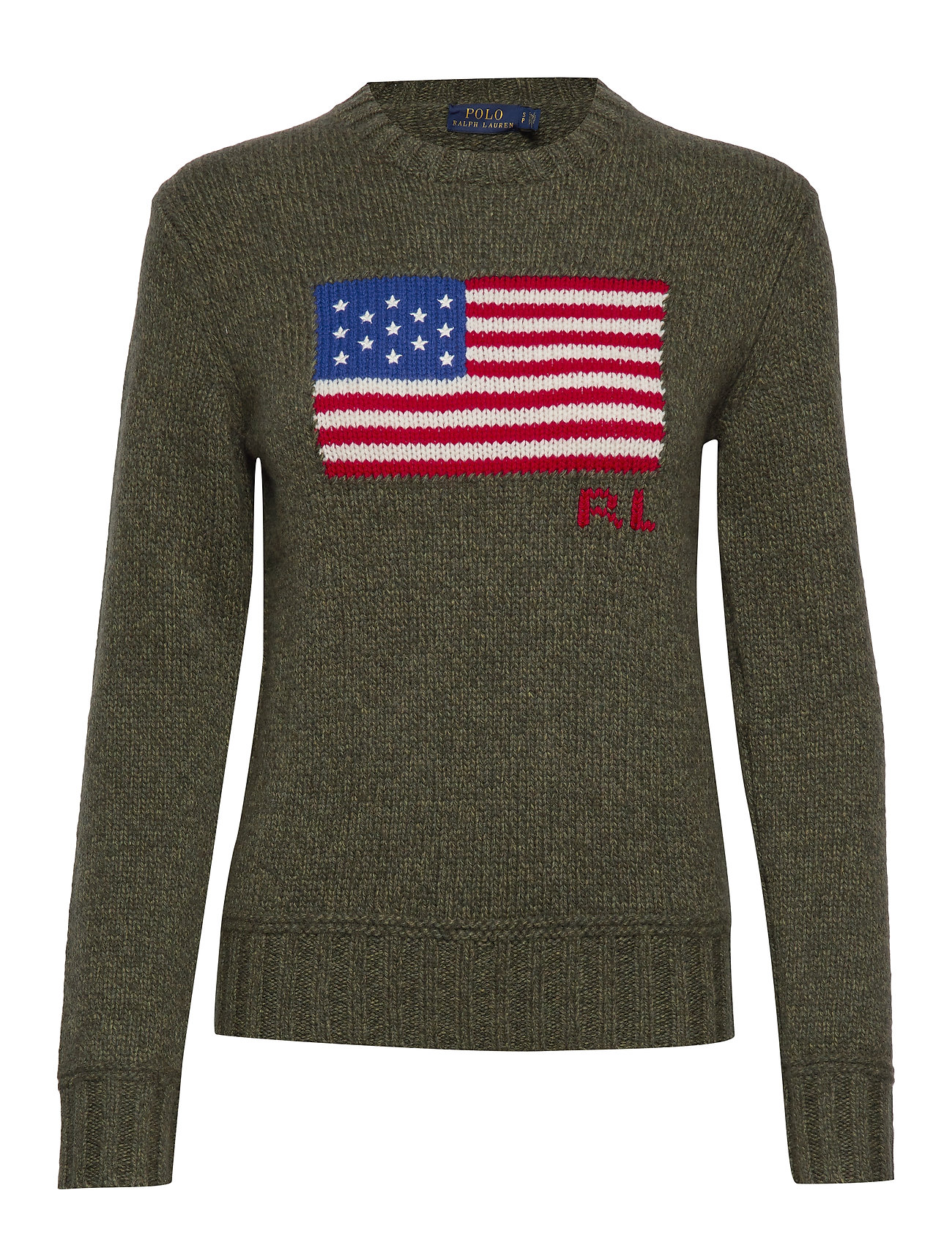 Polo Ralph Lauren Flag Wool-Blend Sweater - OLIVE RAGG MULTI