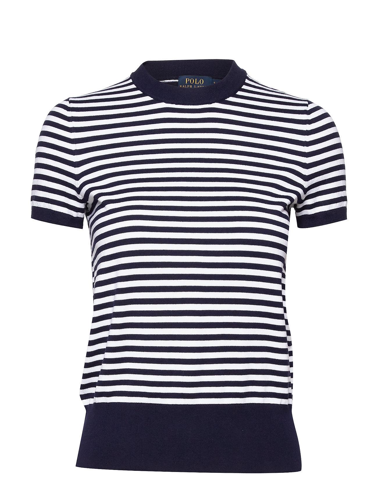 Polo Ralph Lauren Striped Short-Sleeve Sweater - BRIGHT NAVY/WHITE