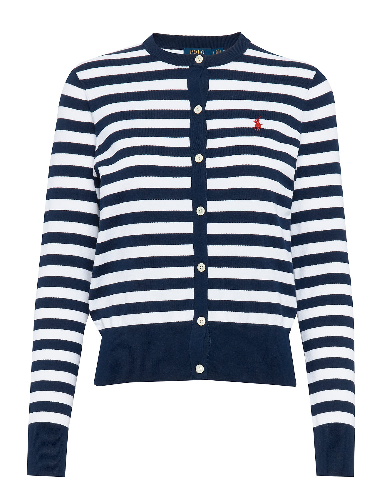 Polo Ralph Lauren Striped Cotton Cardigan - BRIGHT NAVY/WHITE