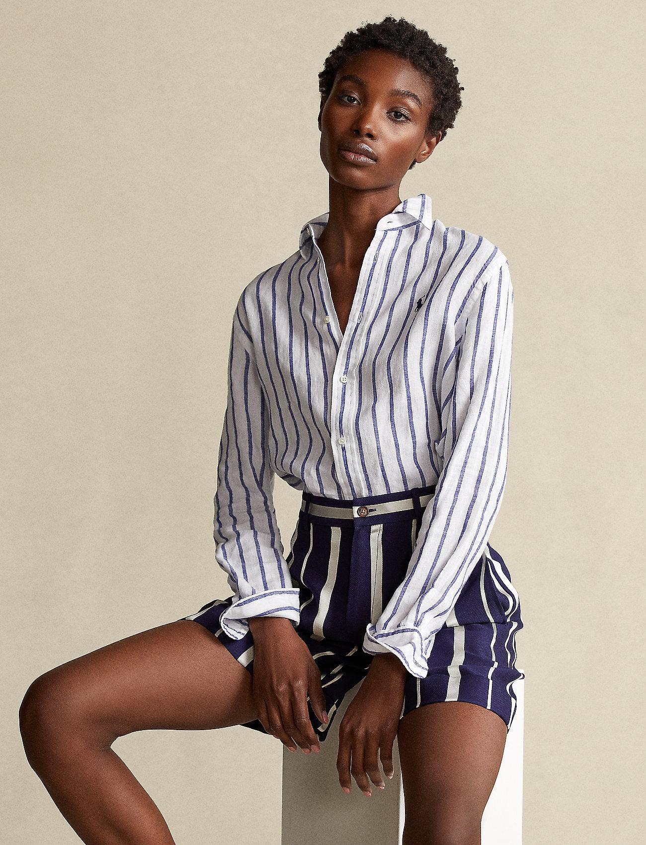 Polo Ralph Lauren - Relaxed Fit Linen Shirt - langærmede skjorter - 925 white/blue - 0