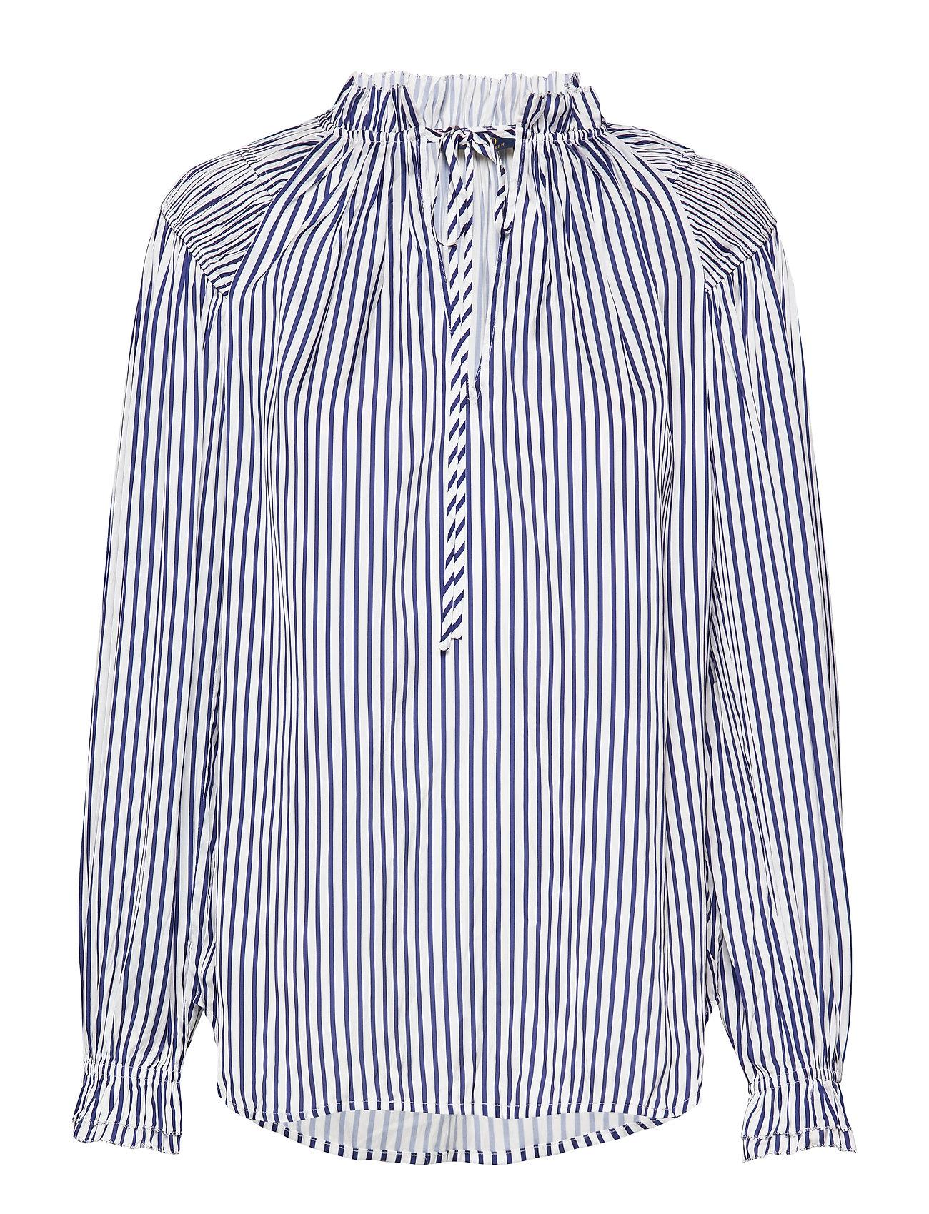 Polo Ralph Lauren Striped Satin Shirt - 523 WHITE/BLUE