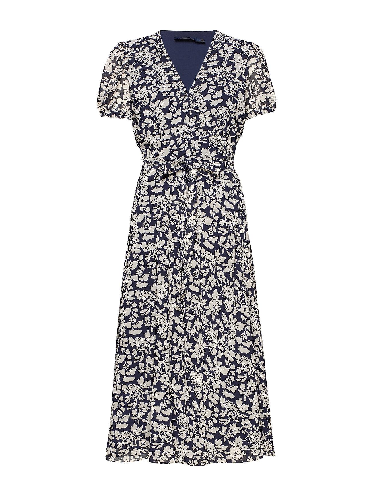 Polo Ralph Lauren Floral Crepe Wrap Dress - NAVY FLORAL