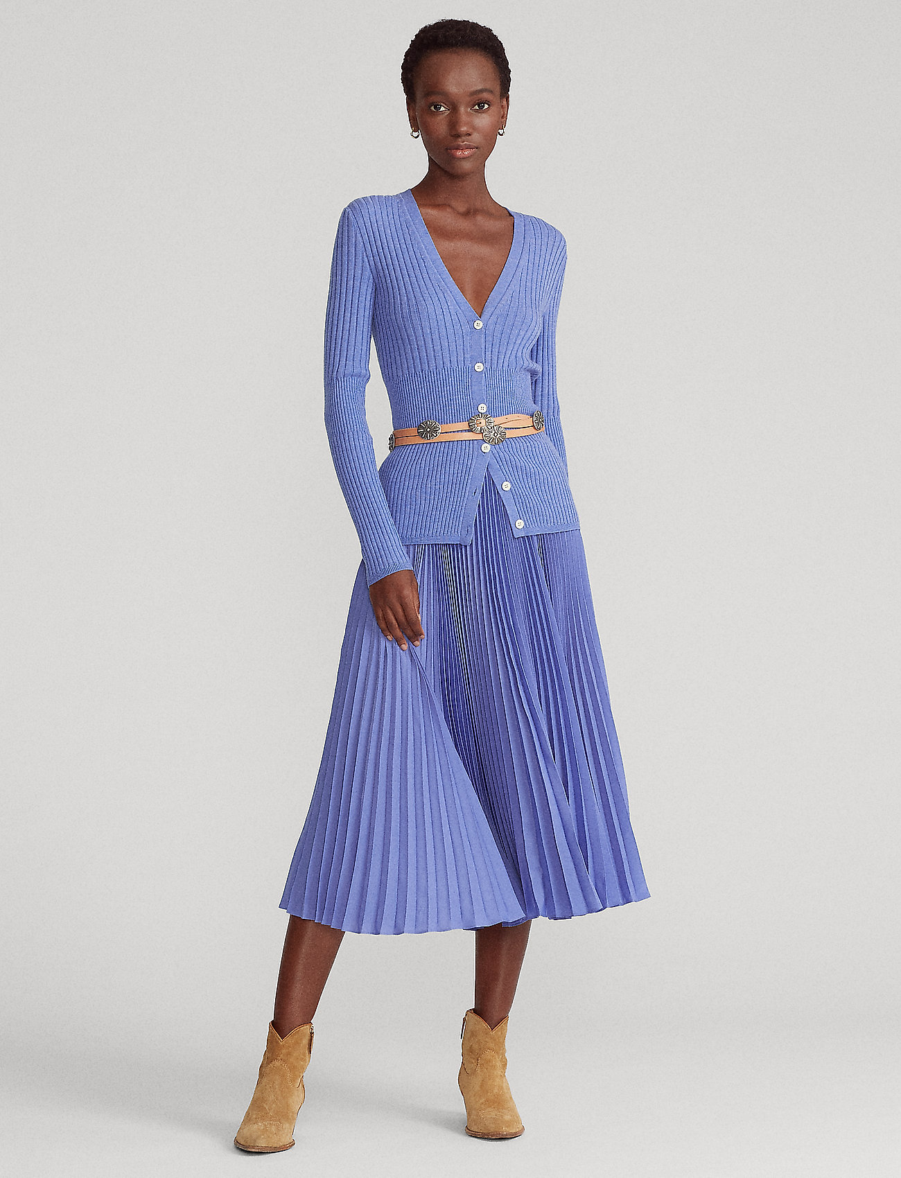 Polo Ralph Lauren - Pleated Midi Skirt - midinederdele - indigo sky - 0
