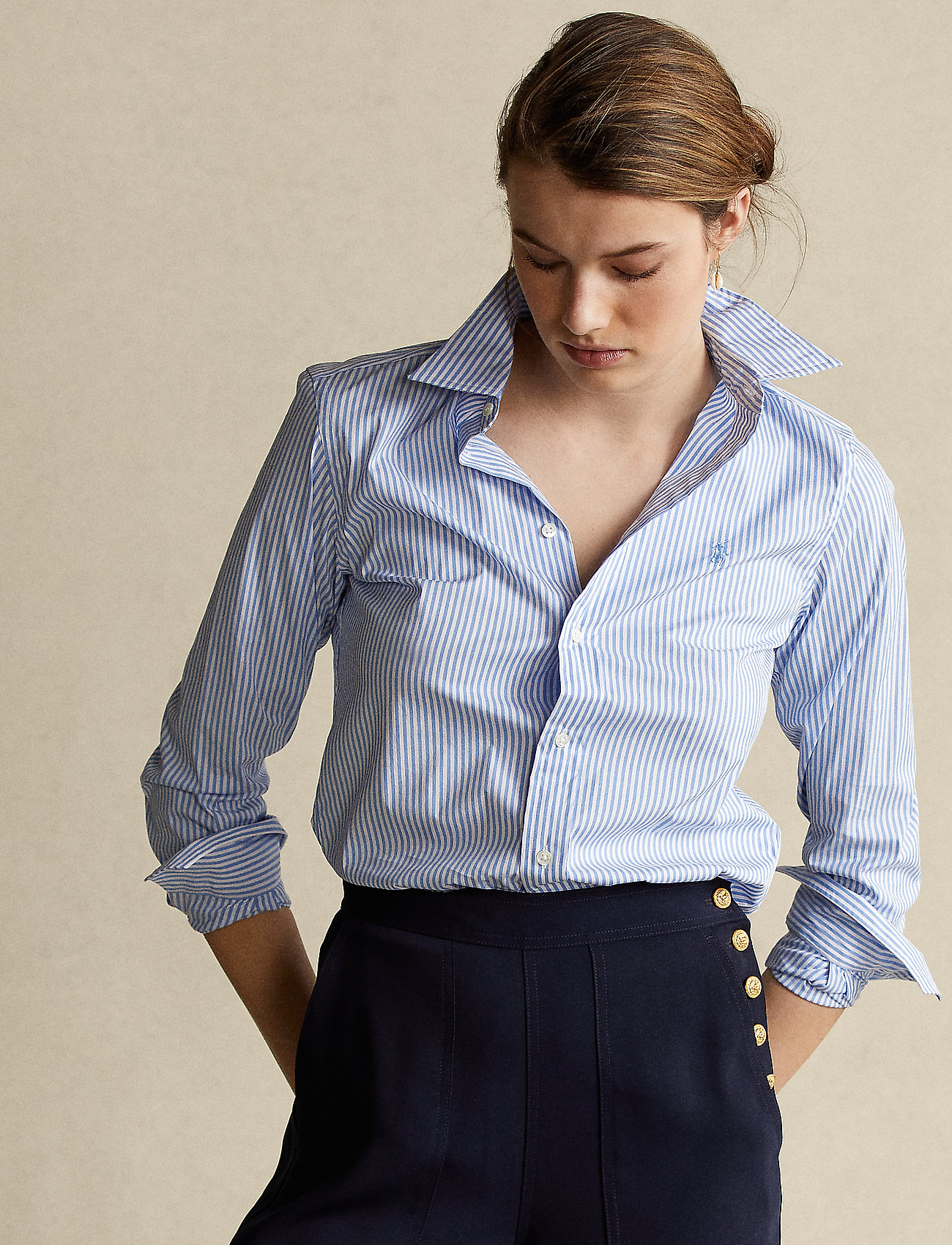 Polo Ralph Lauren - Striped Cotton Shirt - langærmede skjorter - 921a lt blue/whit - 0