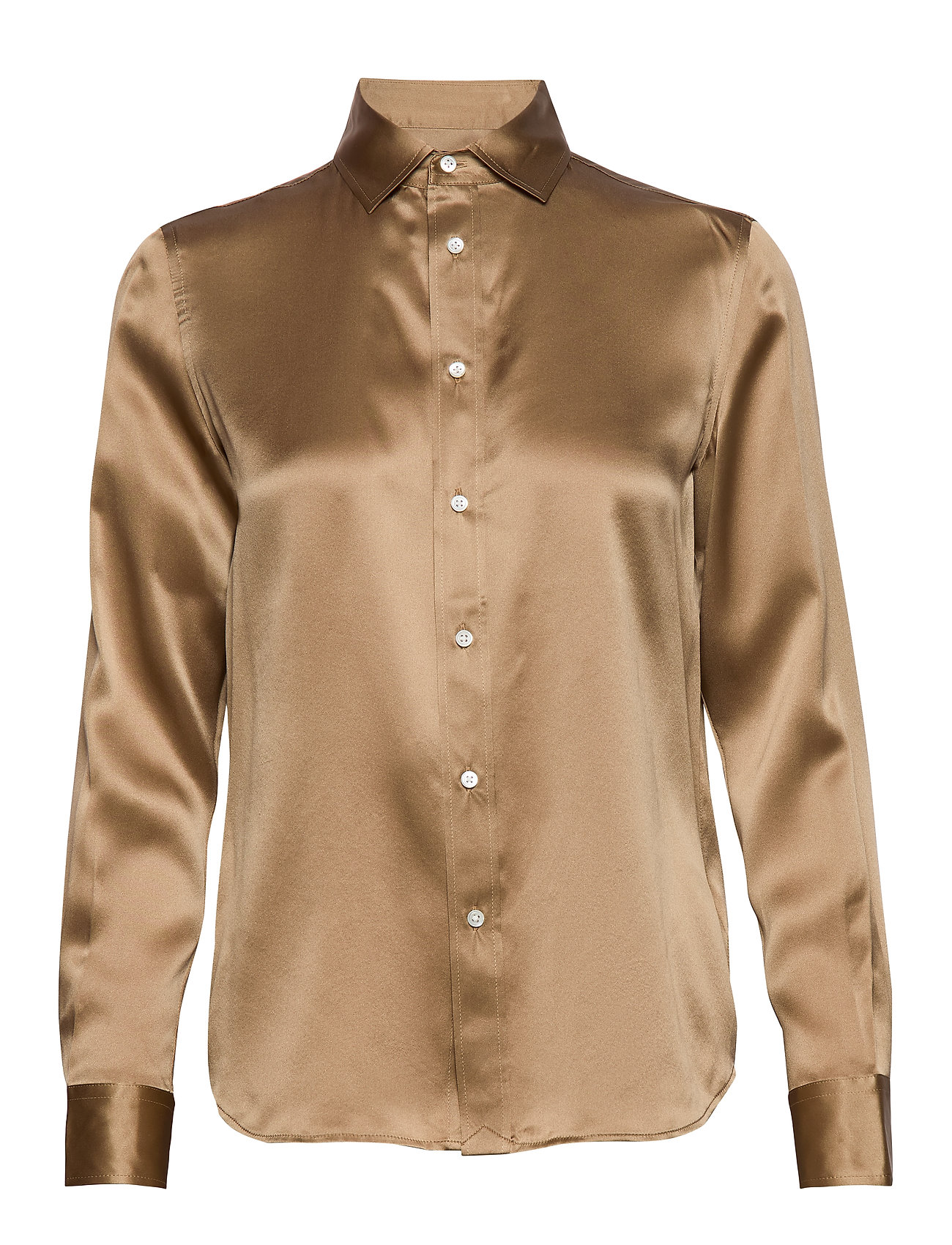 Polo Ralph Lauren Silk Charmeuse Shirt - MONTANA KHAKI