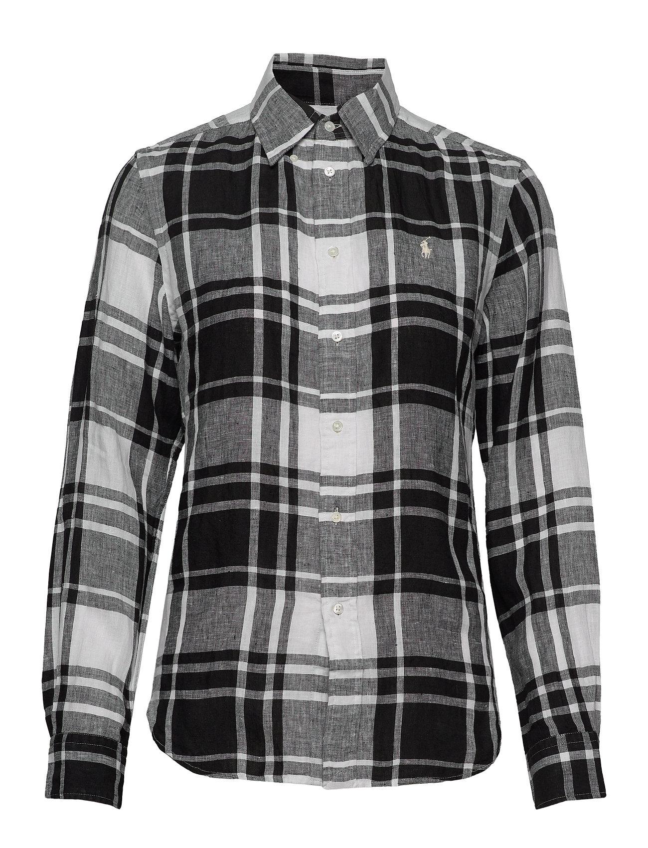 Polo Ralph Lauren Plaid Linen Button-Down Shirt - 713 WHITE/BLACK